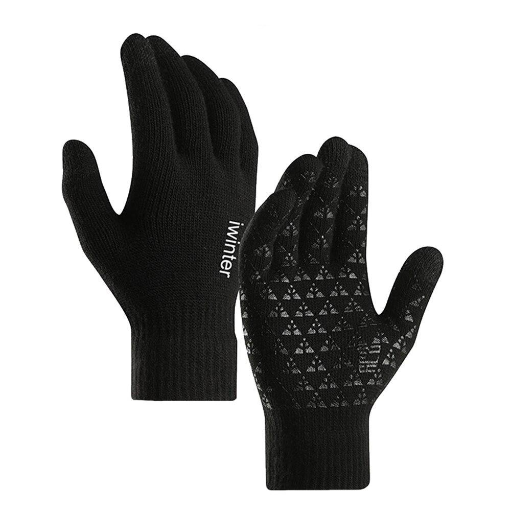 6 цветов трикотажные перчатки мужские осень зима унисекс теплые перчатки от холода шерсть плюс бархат Сенсорный экран силиконовые Нескольз...
