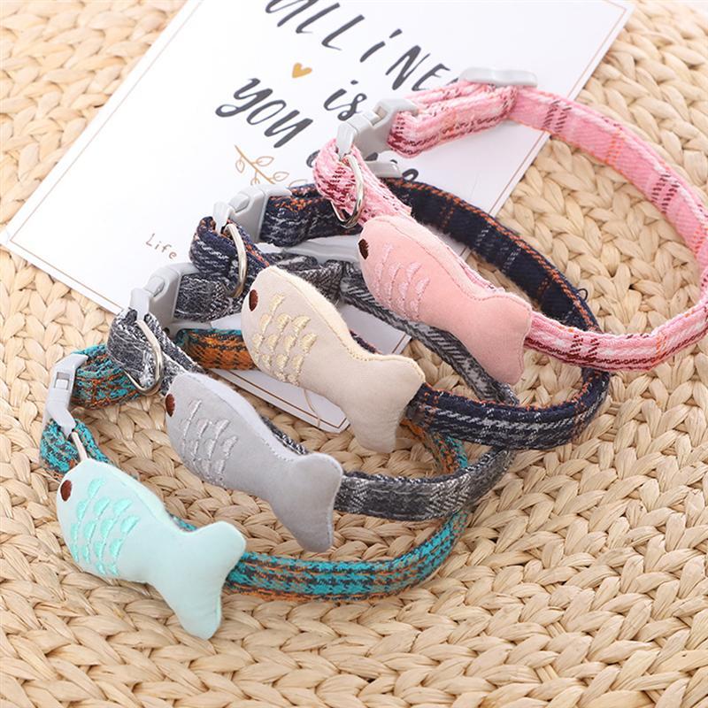 4 unids/set Collar de Gato peces creativos en forma de Collar de celosía para mascotas Collar ajustable Collar para mascotas para gatos, perros, cachorros