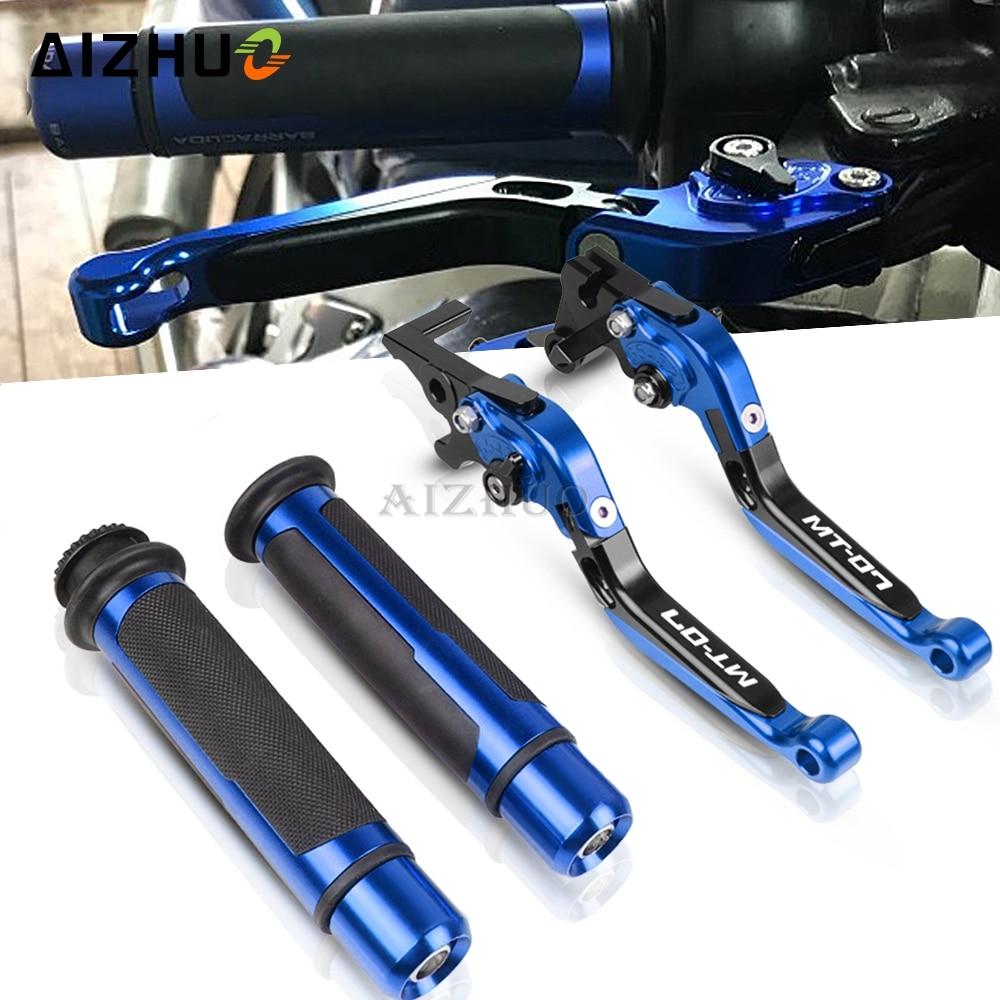Palancas de embrague de freno plegables + empuñaduras de mano para YAMAHA MT-07 MT 07 MT07 2014 2015 2016 2017 2018 2019, accesorios para motocicleta