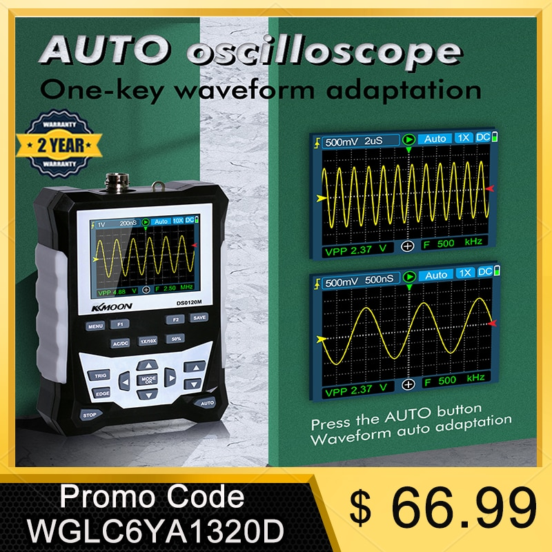 KKmoon DS0120M 320x240 High Definition 2.4 Inch TFT Color Screen Digital Oscilloscope 120MHz Bandwidth 500MSa/s Sampling Rate