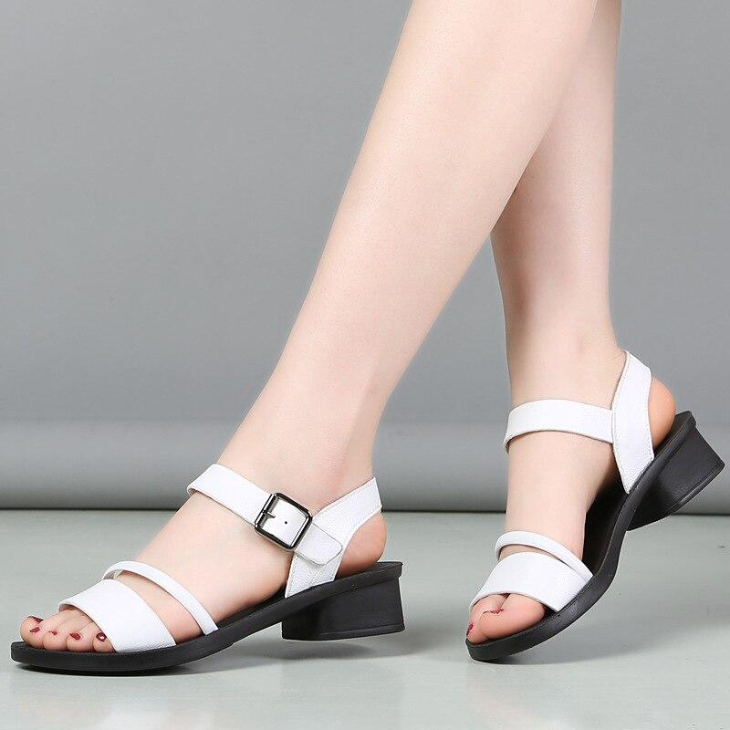 GKTINOO Große Größe 35-41 Sandalen Frauen 2020 Echtem Leder Frauen Starke Ferse Sandalen Damen Sommer Schuhe Schnalle sandalen