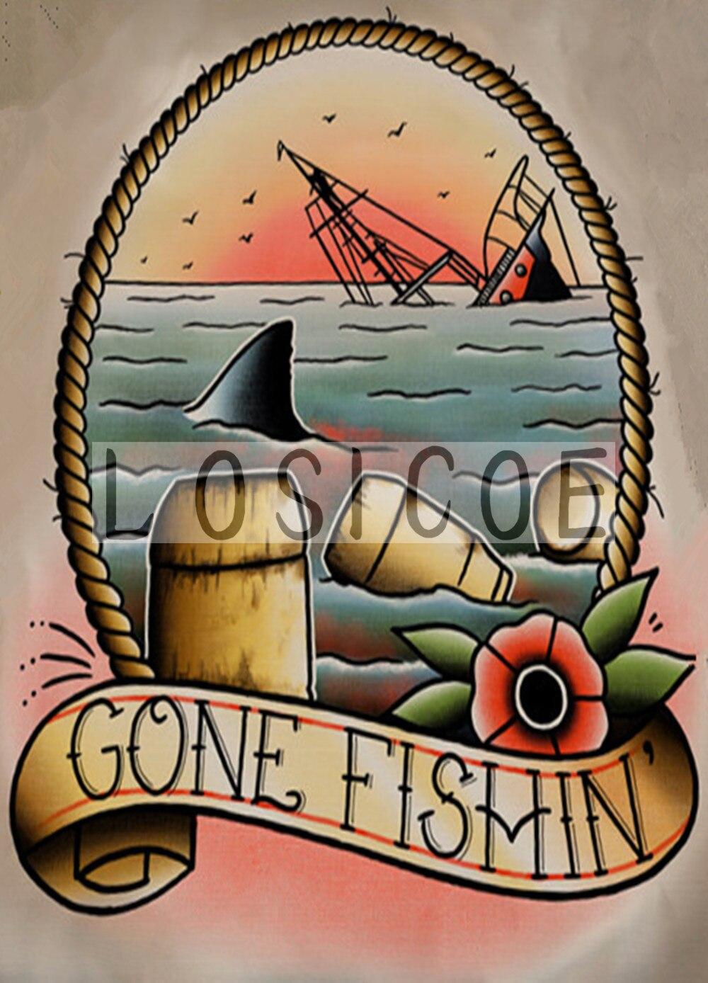 """""""Ido fishin"""" 30x42 cm retro papel kraft poster tatuagens arte adesivo de parede decoração da galeria"""