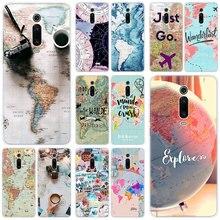 Carte du monde juste aller coque en silicone pour Xiao mi mi Note 10 9T CC9 E 9 Pro A3 Lite Play rouge mi Note 8T 8 8A 6 Pro 6A 4X housse de mode