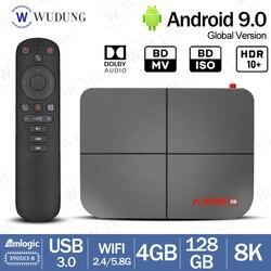 Ax95 db android 9.0 4g 128g caixa de tv inteligente amlogic s905x3 8k suporte dolby bd mv bd iso duplo wifi 4gb 32gb conjunto caixa superior 2020