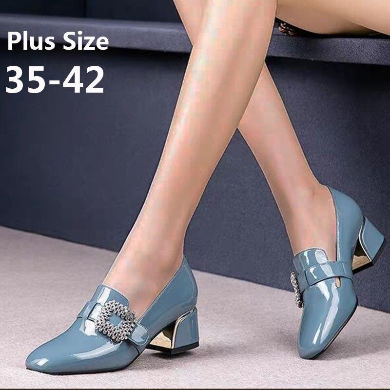 EOEODOIT 2020 Spring Autumn Women Shoes Plus Size Square Toe Mid Heel Leather Pumps Office Lady Work Heels Shoes 5 CM