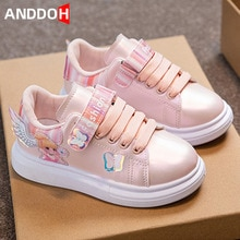 Size 26-36 Children Soft Bottom Casual Sport Sneakers Girls Fashion Princess Anti-slip Single Shoes