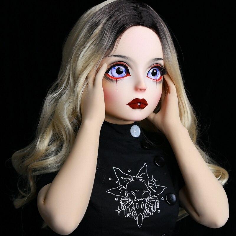 (HIDOLLS 01) Handmade Female Girl Silica Resin Half Head Cosplay Japanese Role Play BJD Kigurumi Masks Crossdresser Doll Mask