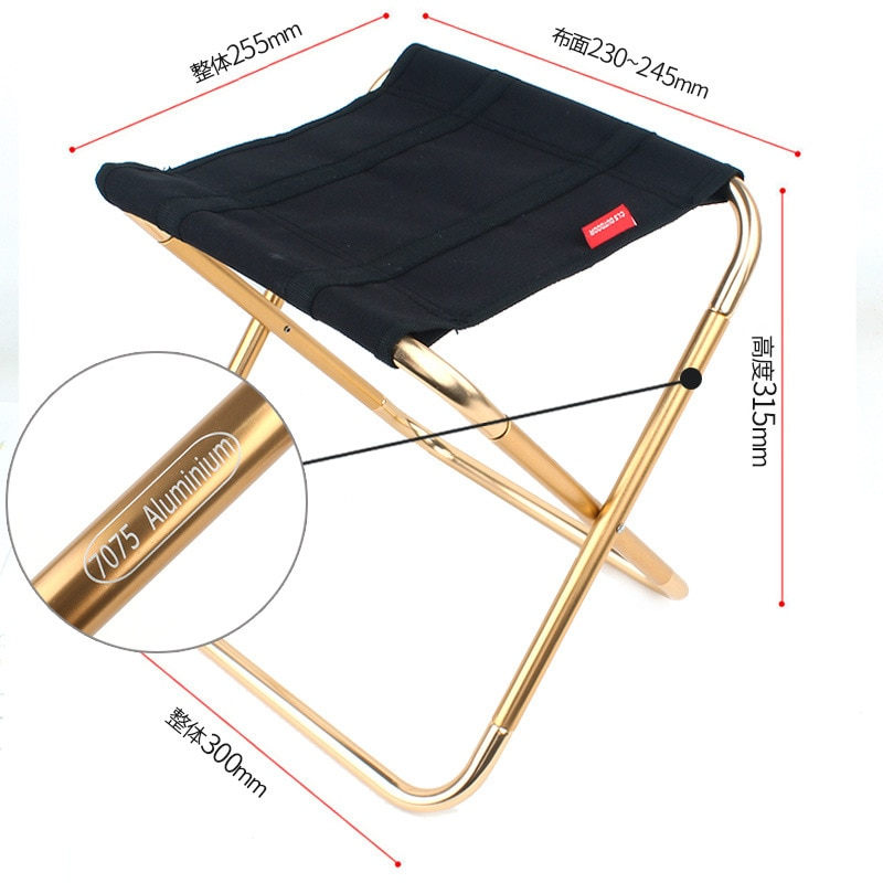 New folding stool large 7075 aluminum alloy outdoor portable barbecue fishing chair mazza train