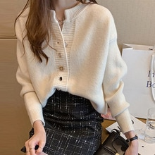 2021 Autumn And Winter New All-match Knitted Cardigan Jacket Women Loose Lazy Sweater Korea Fashion