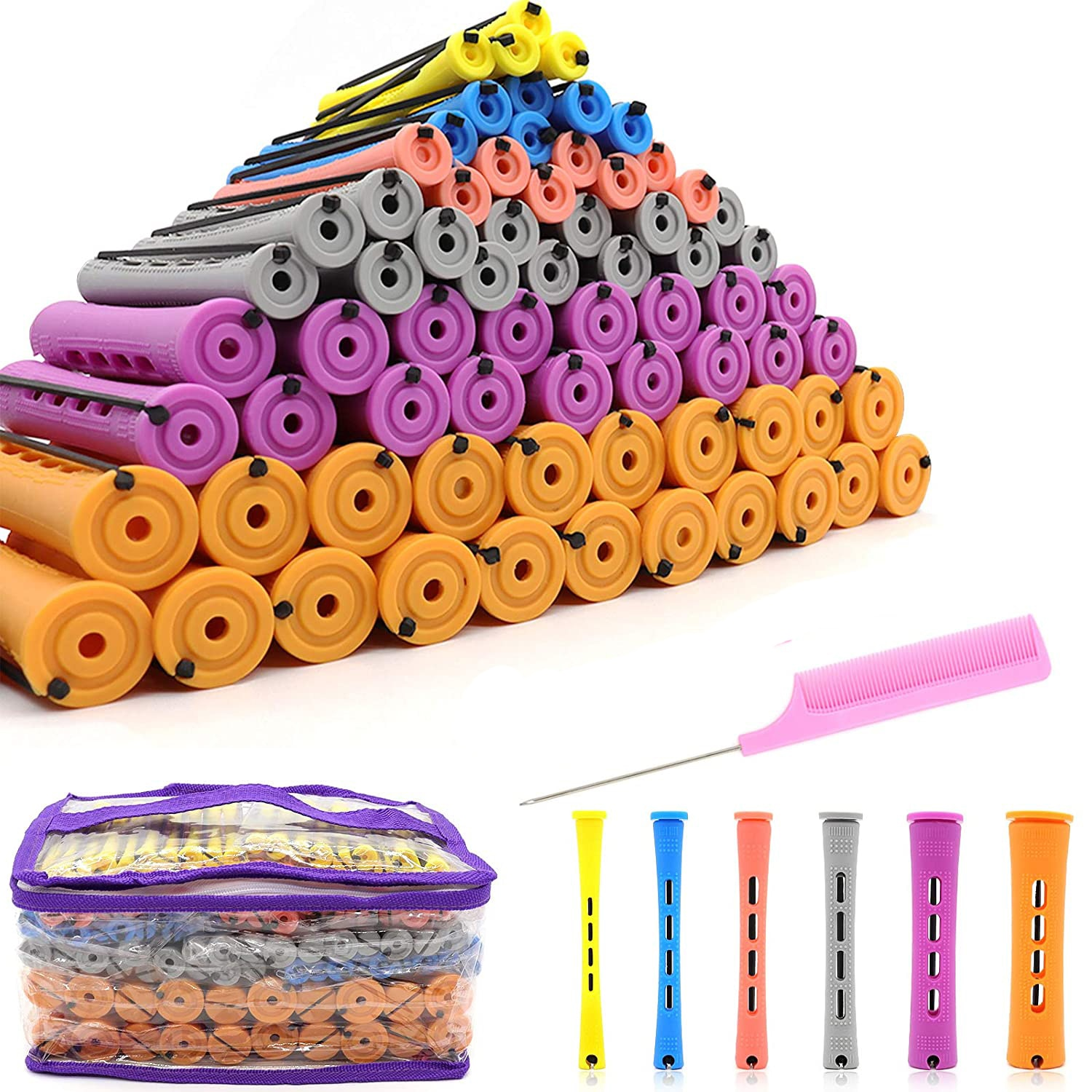 Perm Rods and 120 Pieces 5 Sizes Hair Rollers with Hair Cold Wave Rods Hair Curler for Women Long Sh