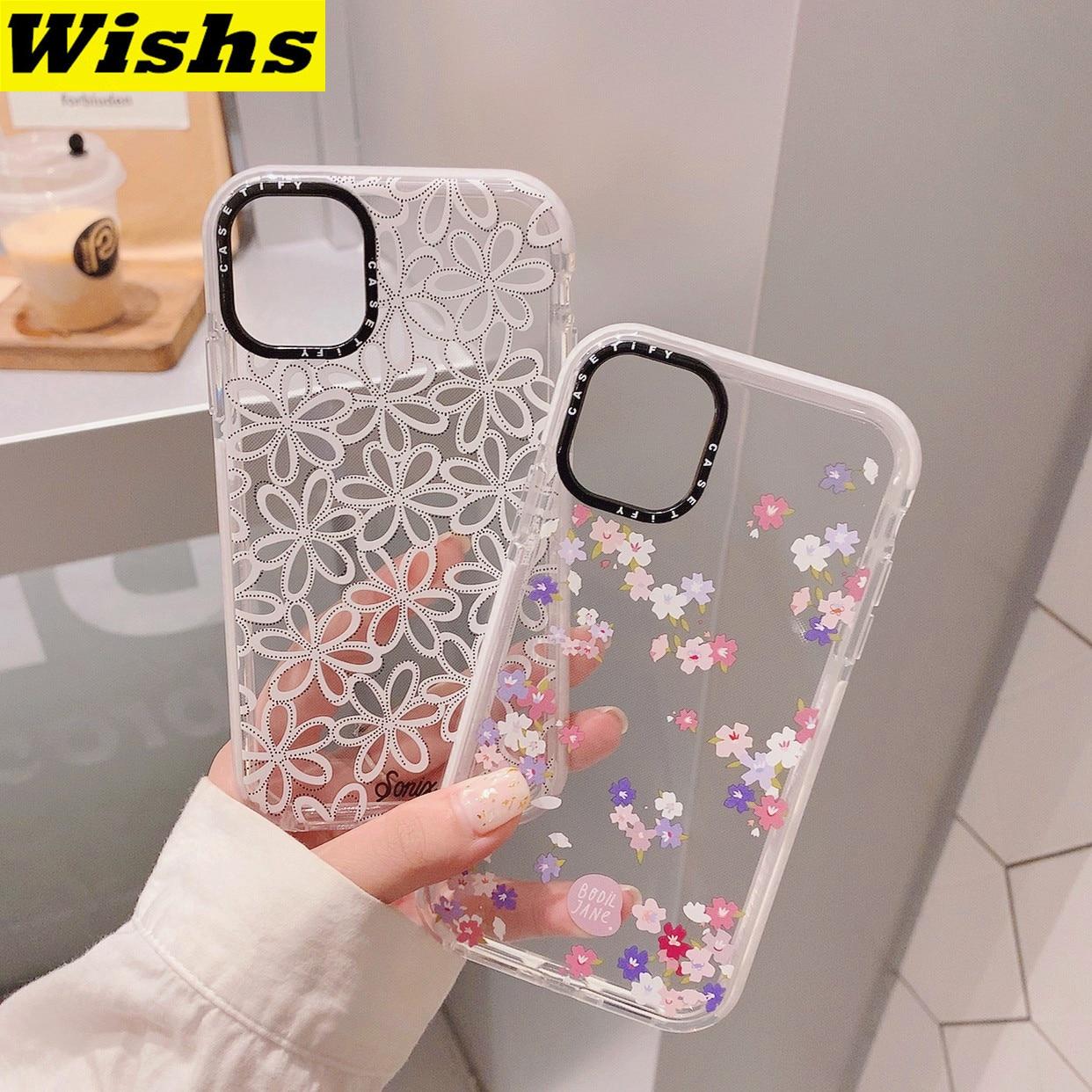 Милый Шелковый чехол с цветами для телефона iPhone 11 Pro MAX XR 7 8Plus X XS SE2020 прозрачный мягкий силиконовый чехол из ТПУ с черной оправой