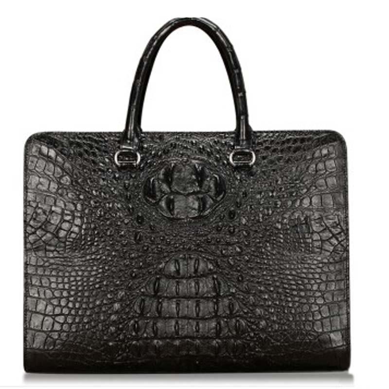 baosidu New crocodile leather Man leisure handbag man Briefcase computer bag business Large capacity male bag black crocodile