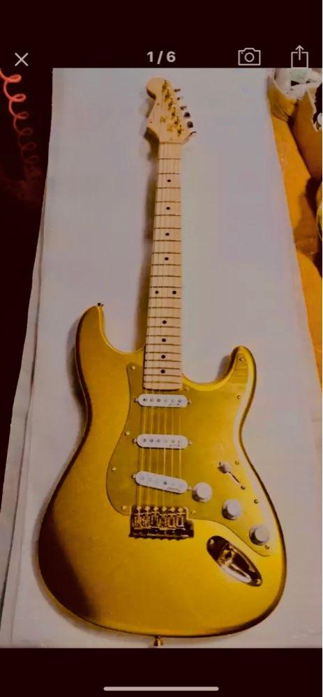 Custom STR Electric Guitar 24 Frett maple scalloped neck  Reverse head stock In Goldtop Gold aluminum pick gard