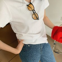 CMAZ 2021 Brand New Women's T-Shirts Short Sleeves Solid Color Women White Tshirt For Female Femme T