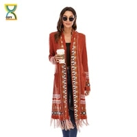 cgyy 2021 fashion red color spring autumn long sleeve knitted boho plaid cardigan women open front sweaters with fringe tassel