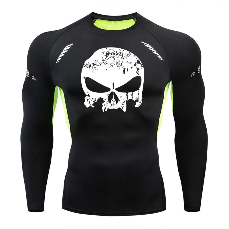 Camiseta de compresión de manga larga para hombre con calavera de marca, Camiseta deportiva de secado rápido para hombre, ropa de entrenamiento de gimnasia