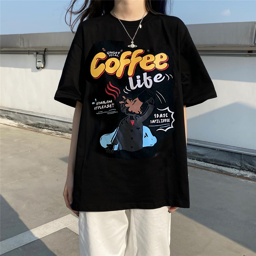 Couple Outfit Women Man Simple Cartoon Character Printed Casual Vintage Cotton New Summer Fashion Short Sleeve O-neck T-shirts
