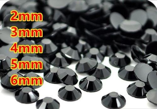 Black jet Resin Flatback  beads for Nail Art/Garment/Decoration  (2mm 3mm 4mm 5mm 6mm) 10000~100000pcs/bag
