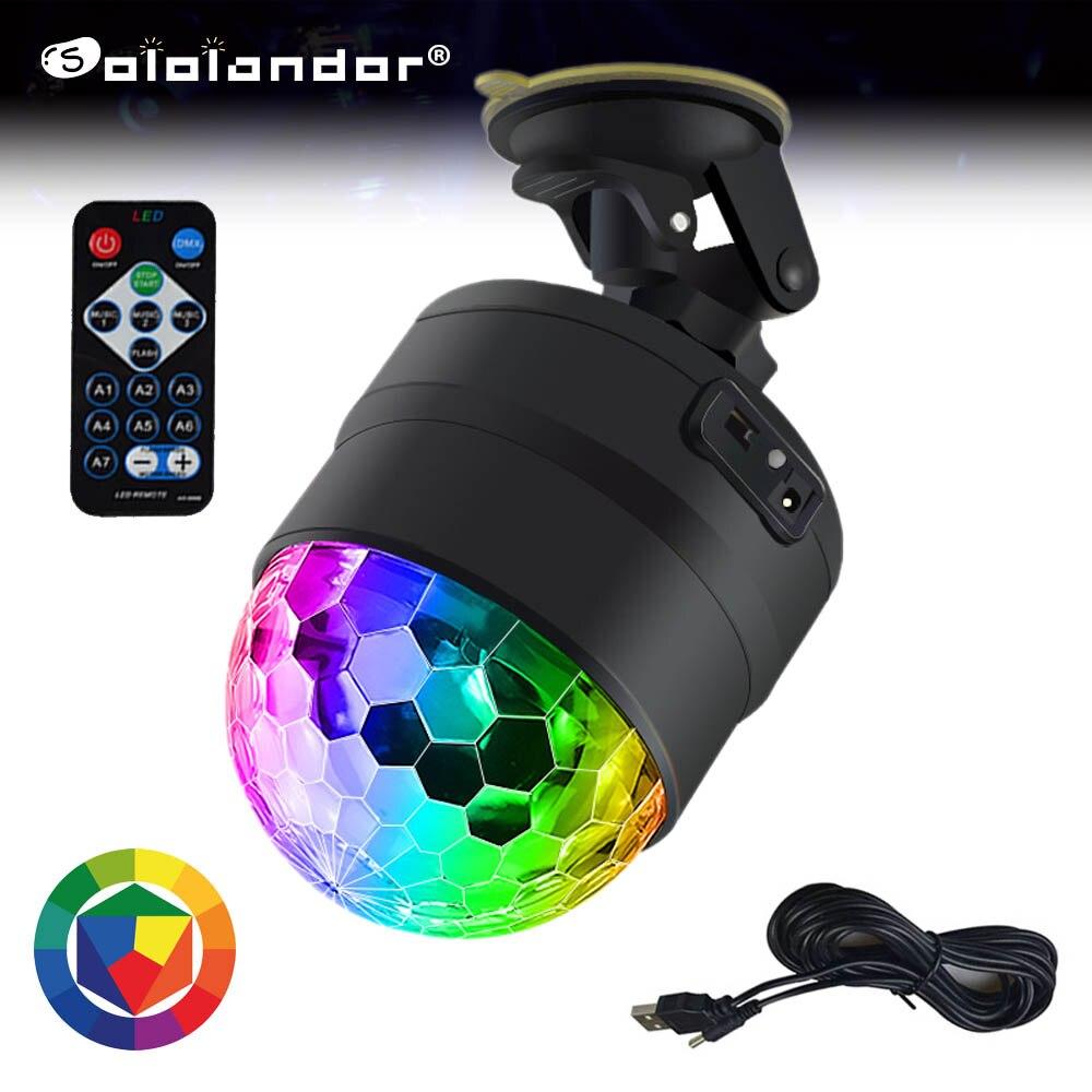 sololandor luz usb para bola de discoteca 5v iluminacao para carro casa casamento