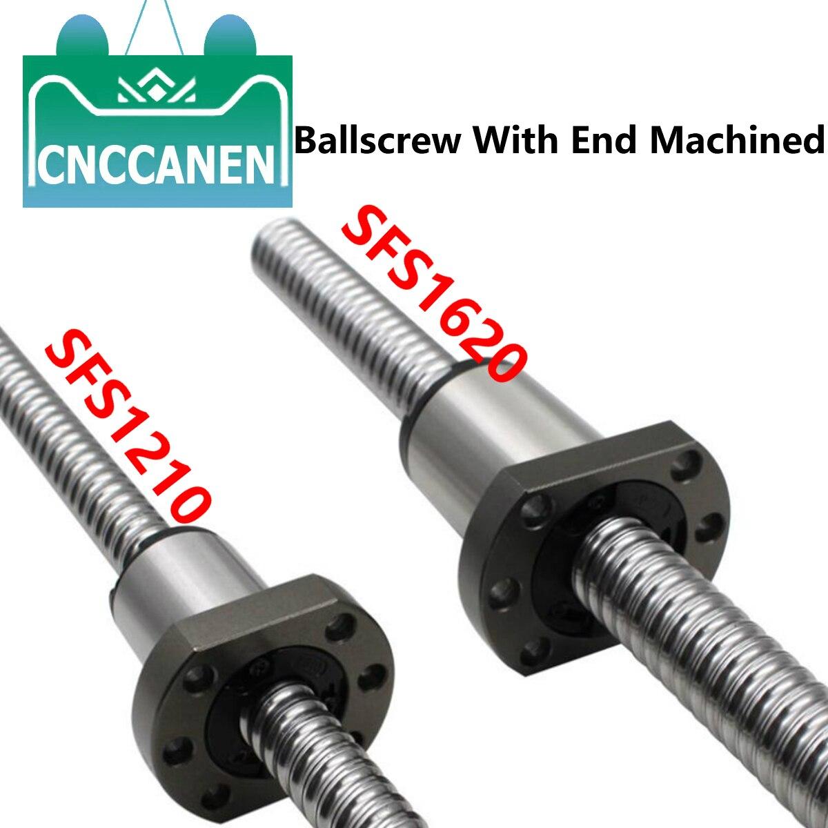 برغي كروي SFS1210 SFS1620 ، سرعة عالية مع طرف مُشغل آليًا C7 دقة 1210 1620 لولب كروي 250 ~ 1550 مللي متر SFS صامولة كروية لآلة CNC
