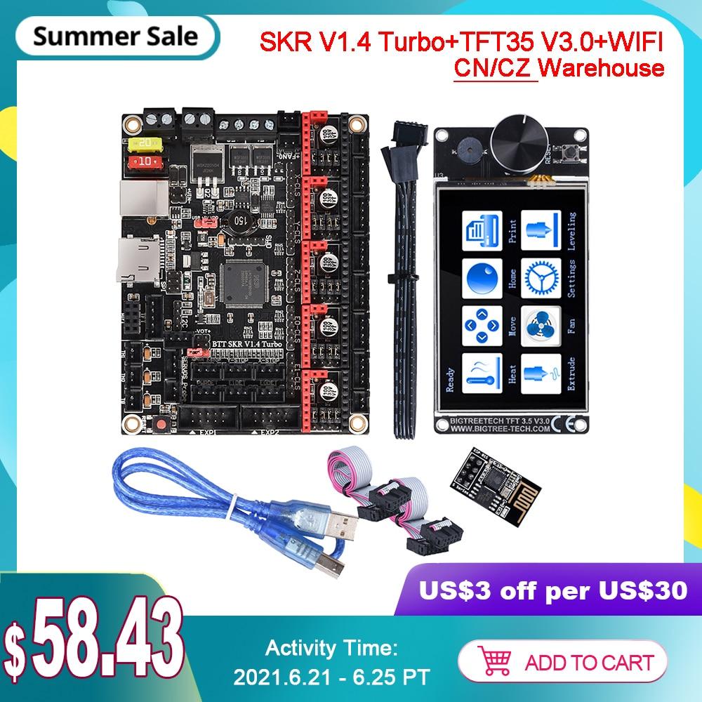 BIGTREETECH SKR V1.4 توربو TFT35 V3.0 واي فاي وحدة طاقم شاشة تعمل باللمس ثلاثية الأبعاد أجزاء الطابعة مجلس CR10 ender3 ترقية صالح TMC2209 UART