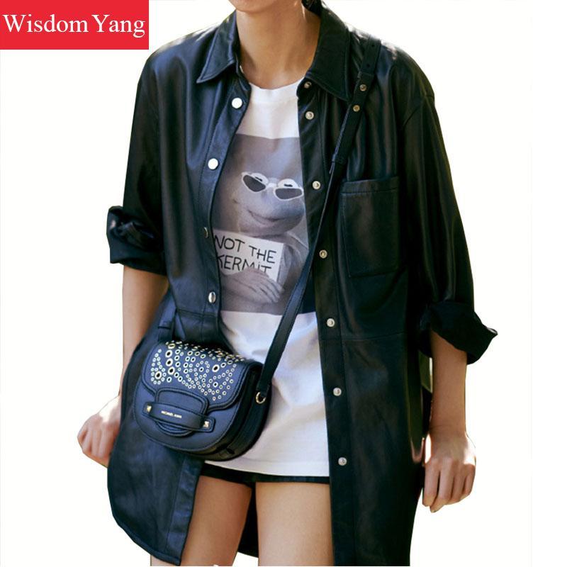Autumn Black Sheepskin Genuine Leather Shirts Jackets Womens Loose Overcoat Bomber Long Jacket Coats Office Ladies Outerwear