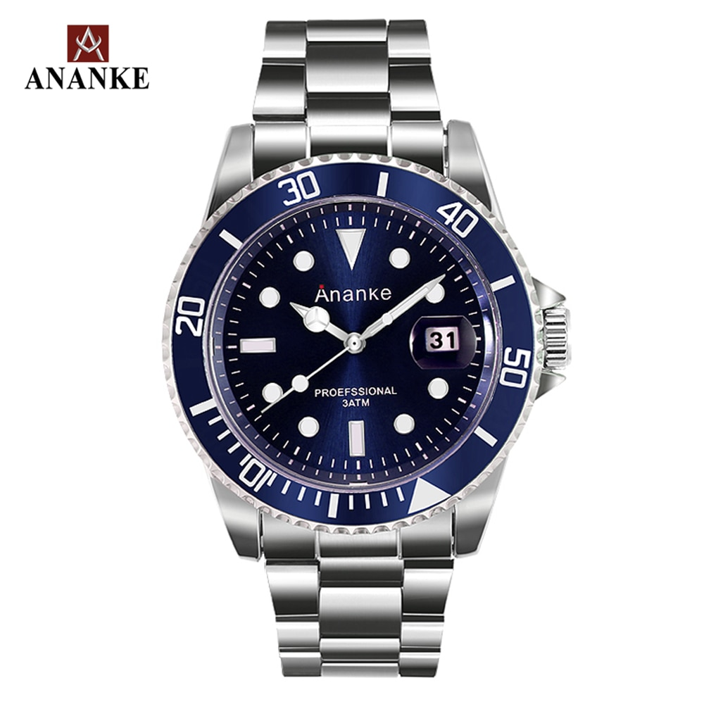 Ananke Mens Luxury Watches Japanese Movement Waterproof Stainless Steel Strap Luminous Auto Date Blue Quartz Watches AN17