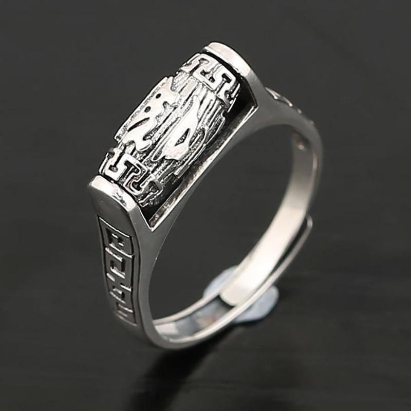 S925 prata esterlina retro afligido simples étnico seis-caráter mantra daming mantra trânsito grânulo anel feminino abertura turnable