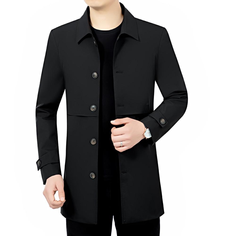 Casual Windbreaker Men's Mid-Length Overcoat Lapel Slim-Fit Coat 2021 Spring Autumn Business Male Long Jackets New Trend Topcoat