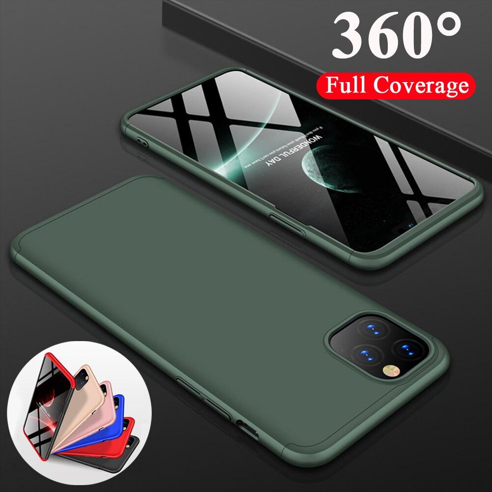 Meia-Noite Verde Para iPhone 11 Pro Max 360 ° Proteção À Prova de Choque Armadura Híbrido Case Capa + Frente Filme Vidro da Têmpera de Vidro Caso de Telefone Capa