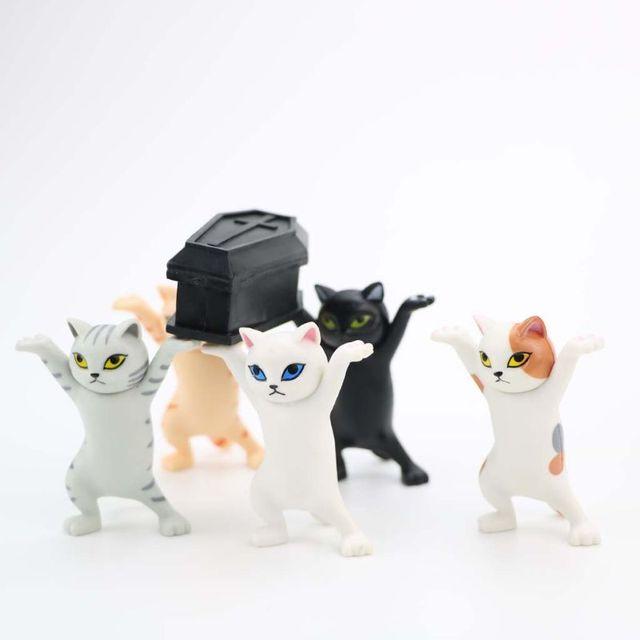 Cat pen holder black cat without coffin bracket Kids Funny Cat Pen Holder Kids Adult Doll Toy Gift Weightlifting Cat Pen holders 6