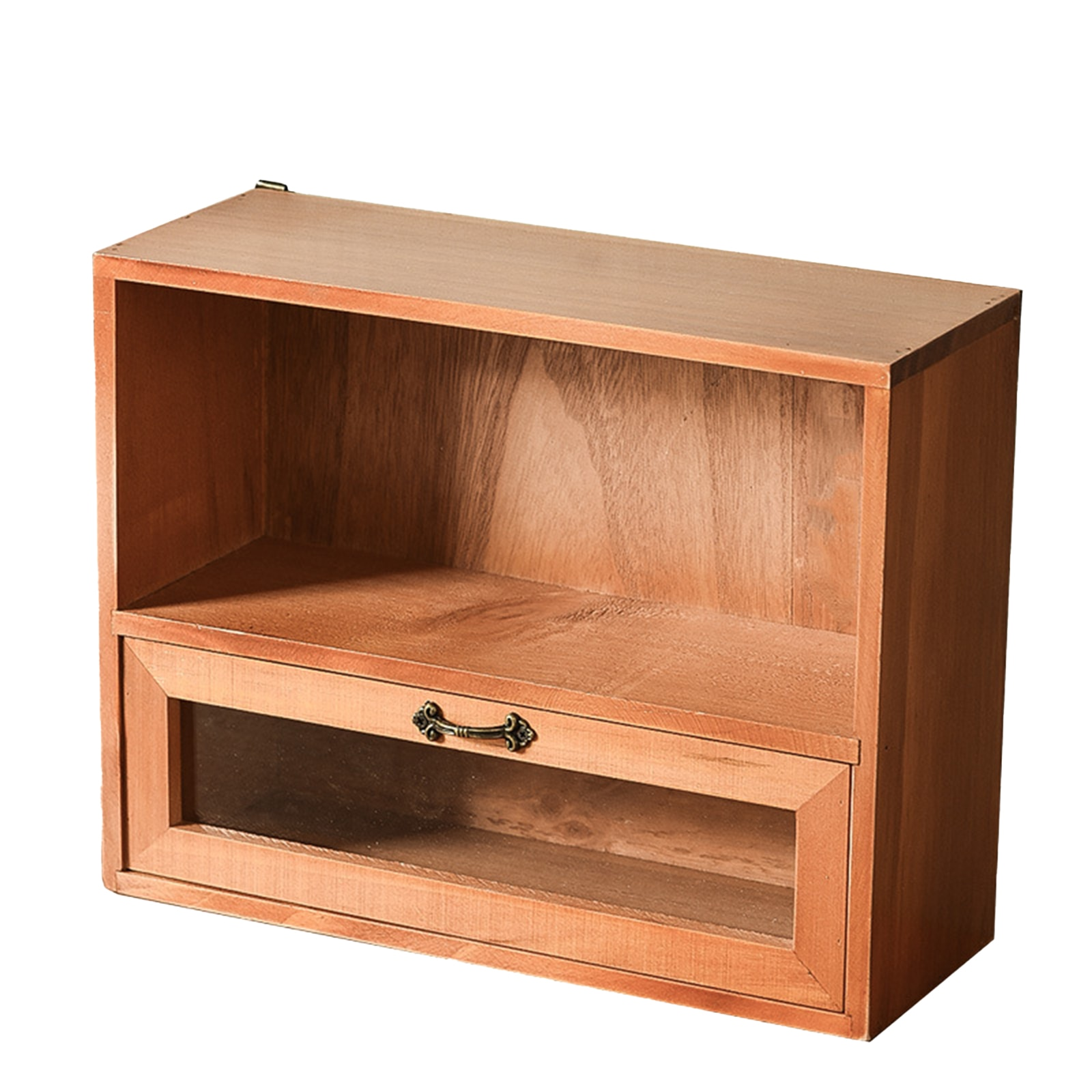 صندوق تخزين طبقة مزدوجة مع درج صندوق تخزين خشبي منظم للحلي مستحضرات التجميل مكتب غرفة نوم 31*11*24 سنتيمتر