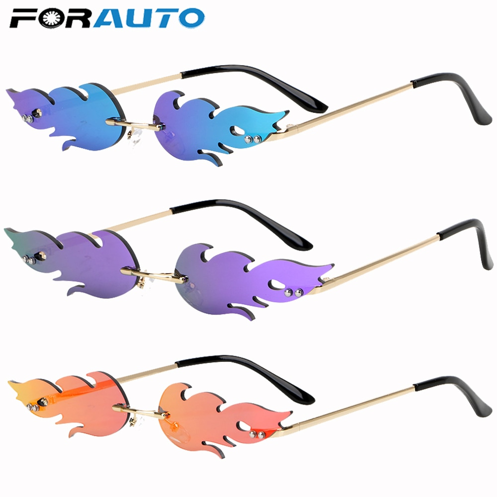 FORAUTO Rimless Wave Sunglasses  Fire Flame Sunglasses Streetwear Car Driving Glasses Trending Narro
