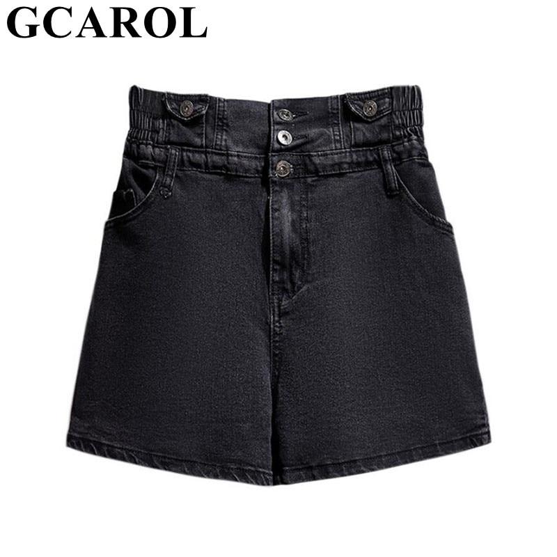 GCAROL Women High Elastic Waist Denim Shorts Casual Loose 6XL Enlarge Girls Spring Summer Single Breasted Shorts