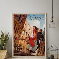 rome italy vintage colosseum travel advert tourism art advert print canvas painting wall pictures posters home decoration gift