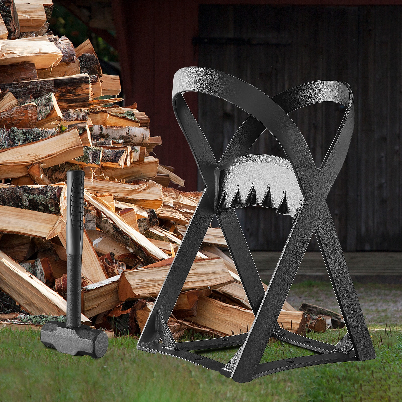 Kindle Quick Wood Log Splitter With a Hammer - Manual Splitting Tool - Steel Wedge Point Splits Firewood Woodworking Cutter enlarge