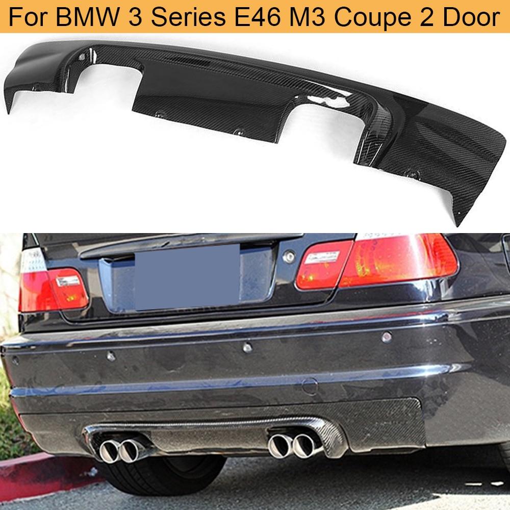 Coche para difusor de parachoques trasero Spoiler para BMW Serie 3 E46 M3 Coupe 2 2002 - 2005 de fibra de carbono coche difusor trasero Spoiler