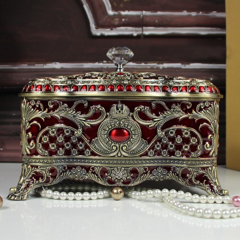 الفاخرة سعة كبيرة برونزية اللون صندوق مجوهرات معدني سطح المكتب ماكياج المنظم علبة تخزين صندوق لفتاة هدية Z150