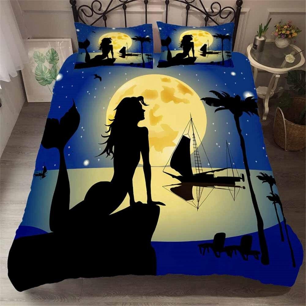 2/3 قطع طقم سرير حورية البحر فتاة جميلة/امرأة حاف الغطاء للأطفال الكبار السرير غطاء لحاف الكرتون الملونة السرير طقم أغطية