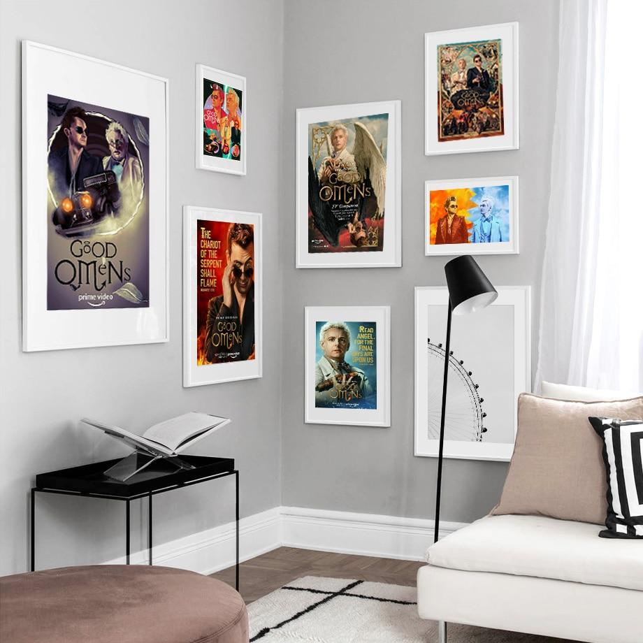 Cartel de tela de seda L0033 Good Omens David Tennant Michael Sheen serie TV, decoración artística, regalo de pintura para interiores