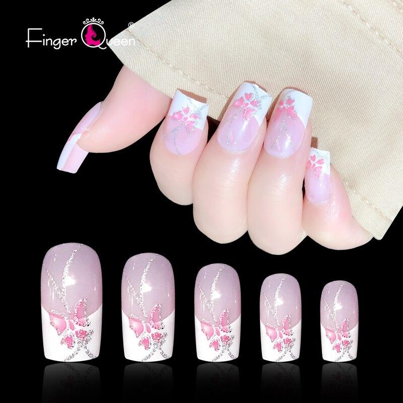 Puntas de uñas prensadas en uñas 24 unids/caja uñas postizas uñas femeninas patrón de dibujos animados Acrílico