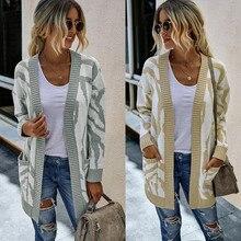 Mulheres outono inverno solto oversize impressão comprimento médio xale camisola de malha cardigan topos outwear suete mujer poncho