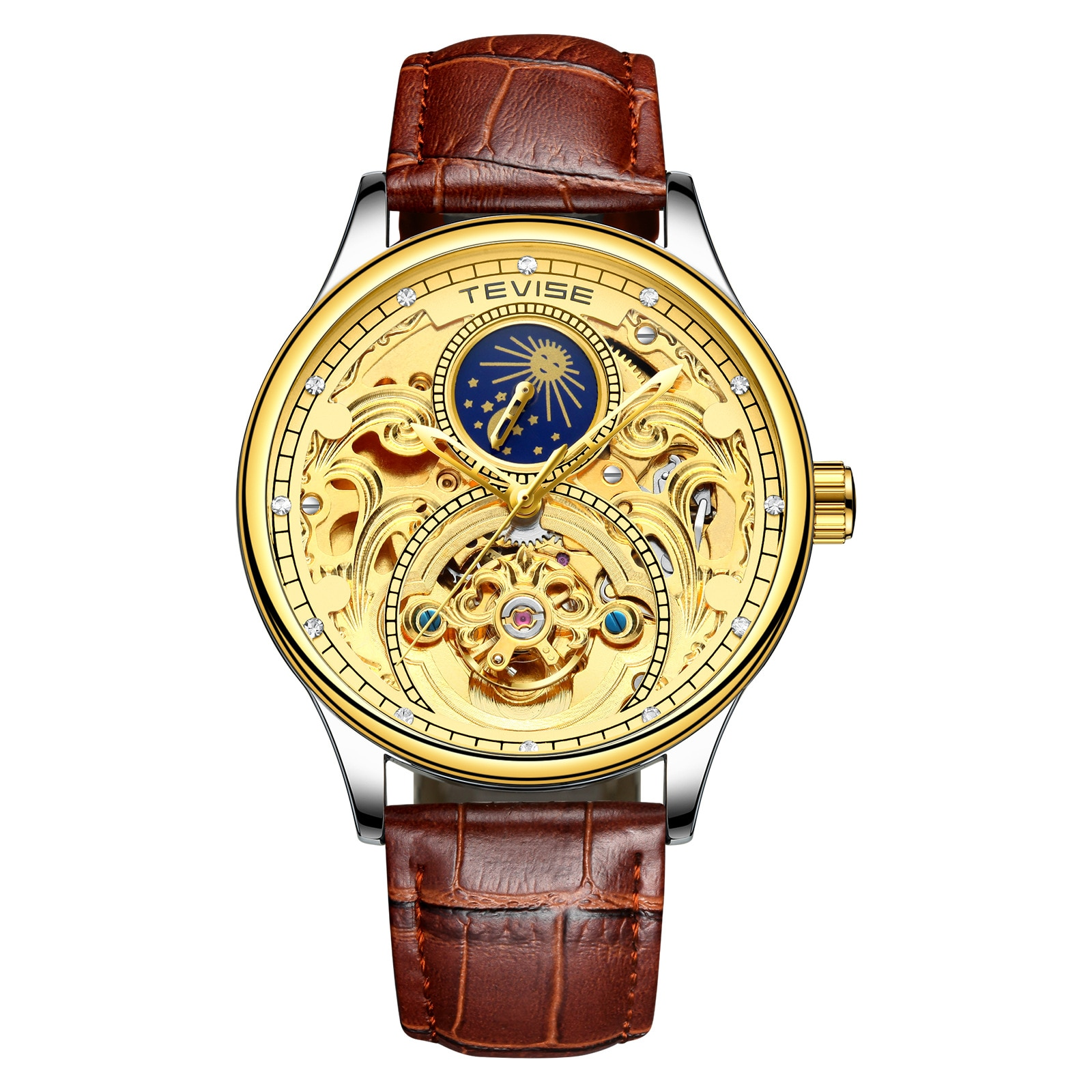 Mens Skeleton Mechanical Watches Leather Wristwatch 30m Water Resistance Top Brand Luxury Automatic Watch For Men