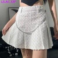y2k denim white pleated high waisted skirts harajuku jeans blue chain mini skirts korean fashion women clothes goth summer skirt