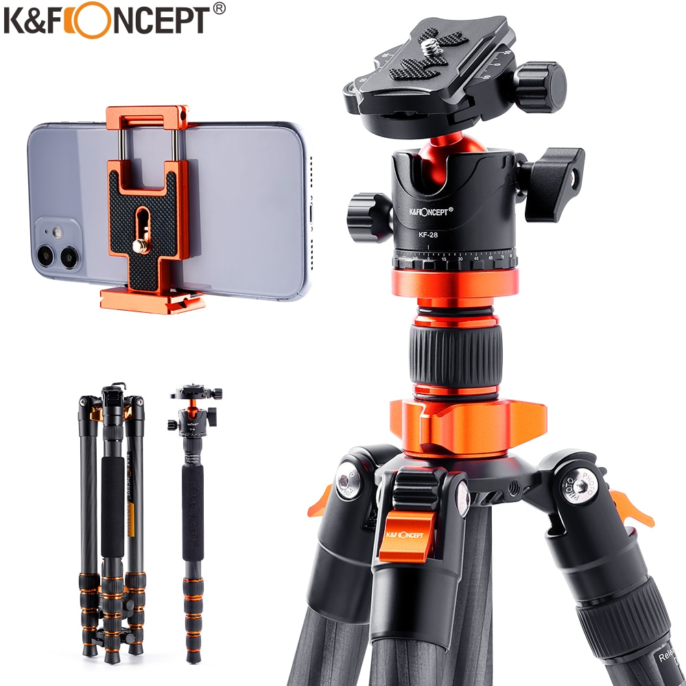 K & F مفهوم SA255C1 68 بوصة الكربون حامل ثلاثي القوائم من الفايبر للكاميرا مع 360 درجة الكرة رئيس و 10kgs تحميل انفصال Monopod