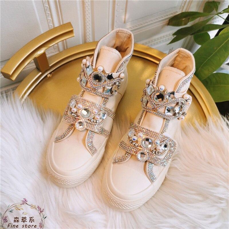 Glänzende Kristalle Hohe Tops Turnschuhe Frauen Casual Leinwand Schuhe Bling Strass Mode Damen Trainer Vulkanisierte Schuhe Frau