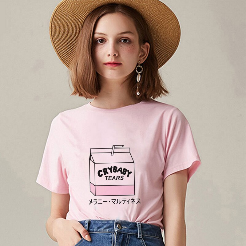 new Kawaii Pink blouse women Summer Casual Tumblr Outfit Fashion shein Tops Cartoon Peach Juice Japanse Aesthetic Harajuku vadim