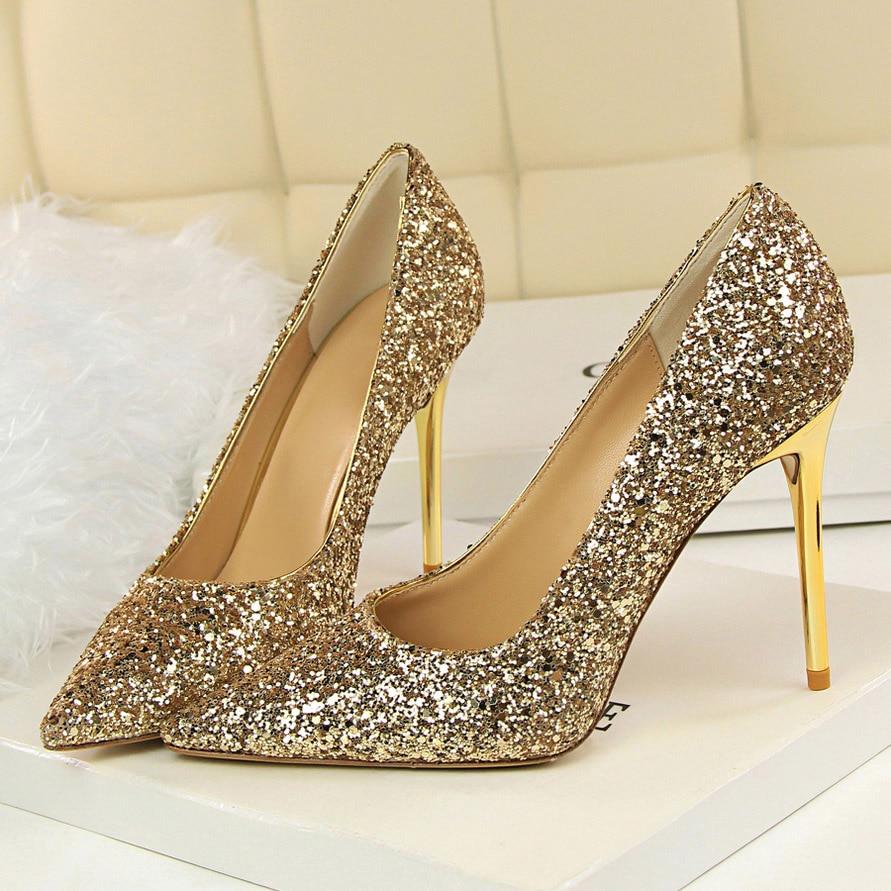 2020 женские туфли на высоком каблуке 9,5 см; большие размеры 43; Роскошные блестящие туфли-лодочки на шпильках для стриптиза; свадебные туфли золотистого и серебристого цвета
