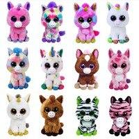 Разноцветные единороги Ty большие блестящие глаза 15 см, плюшевая Коллекционная кукла-Зверюшка, единорог, серия игрушек, подарок на Рождество...