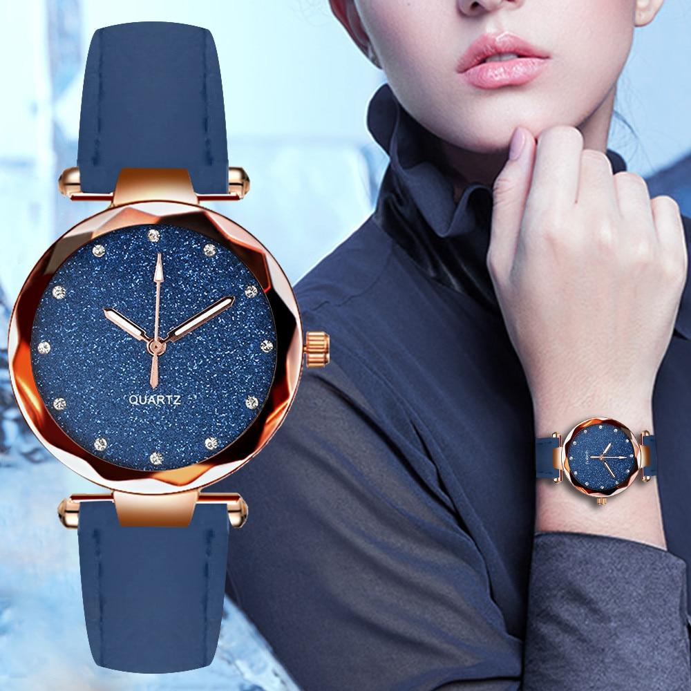 Reloj de mujer de moda 2019, reloj de cuarzo de oro rosa con diamantes de imitación de moda para mujer